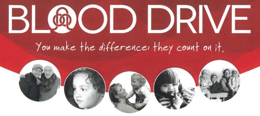 People with the words Blood drive, you make the difference they count on it.
