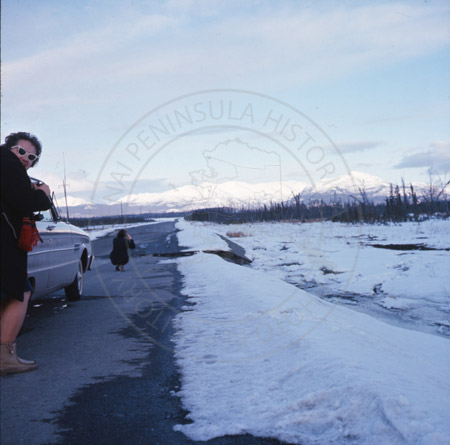 Earthquake damage on Sterling Highway, Sterling 1964