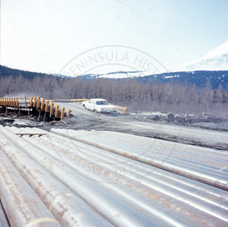 Earthquake damage at Snow River Bridge on the Sterling Highway, 1964