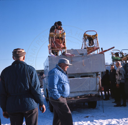 Dr. Roland Lombard's truck and Colonel Vaughn, Alaska State Champion sled dog races 1964