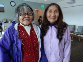 Jeanie Maxim, Ahtna Language Teacher, and Helen Dick, Dena'ina Language Teacher at the the Ahtna and Dena'ina Language Topics Teacher Training Meeting.