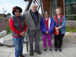 Fluent Ahtna Language Speakers with UAF Linguist, (left) Irene Pedersen from Cantwell, Charlie Hubbard from Cantwell, Jeanie Maxim from Gulkana and Dr. Siri Tuttle who teachers at the University of Alaska, Fairbanks who teaches in Athabaskan