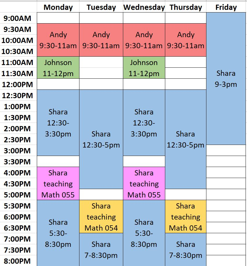Visual of Math Lab Schedule