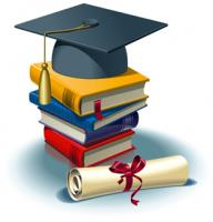 Image depicts a text book stack, diploma and a mortorboard hat to symbolize graduating from college.